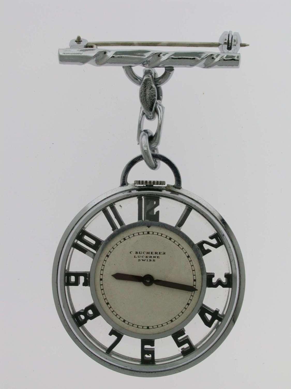 BUCHERER Skeleton Art Deco Pocket Watch  with Art Deco Brooch Swiss