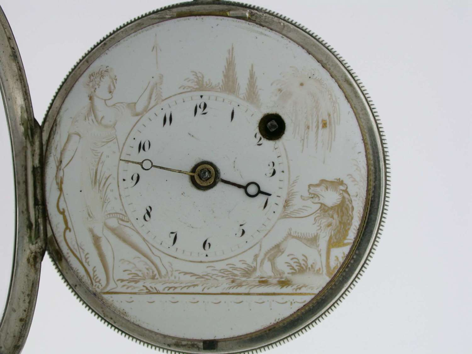 Silver Verge Painted Dial English / London  Pocket Watch 1800