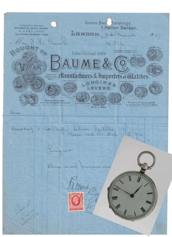 Baume & Mercier Silver Open Face Pocket Watch  Swiss 1881