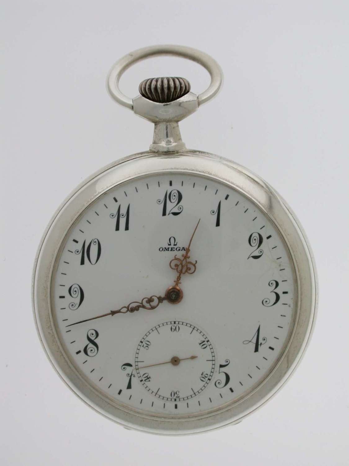 Omega Open Face Steel Pocket Watch Swiss 1908