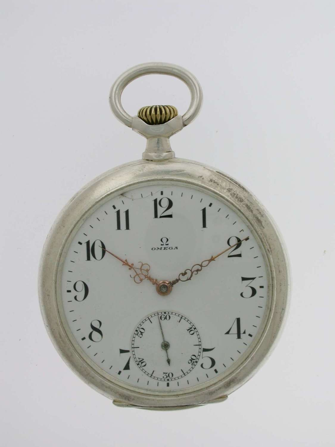 Silver 0.800 Omega Open Face Pocket Watch Swiss 1910