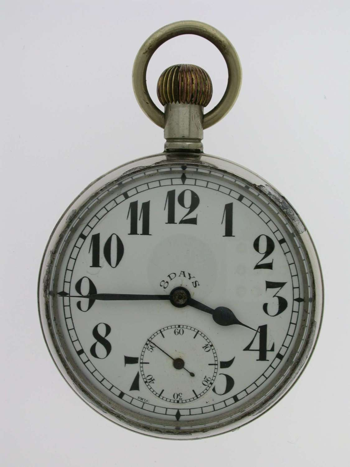 8 Days Military 'WD' Open Face Pocket Watch Swiss 1914