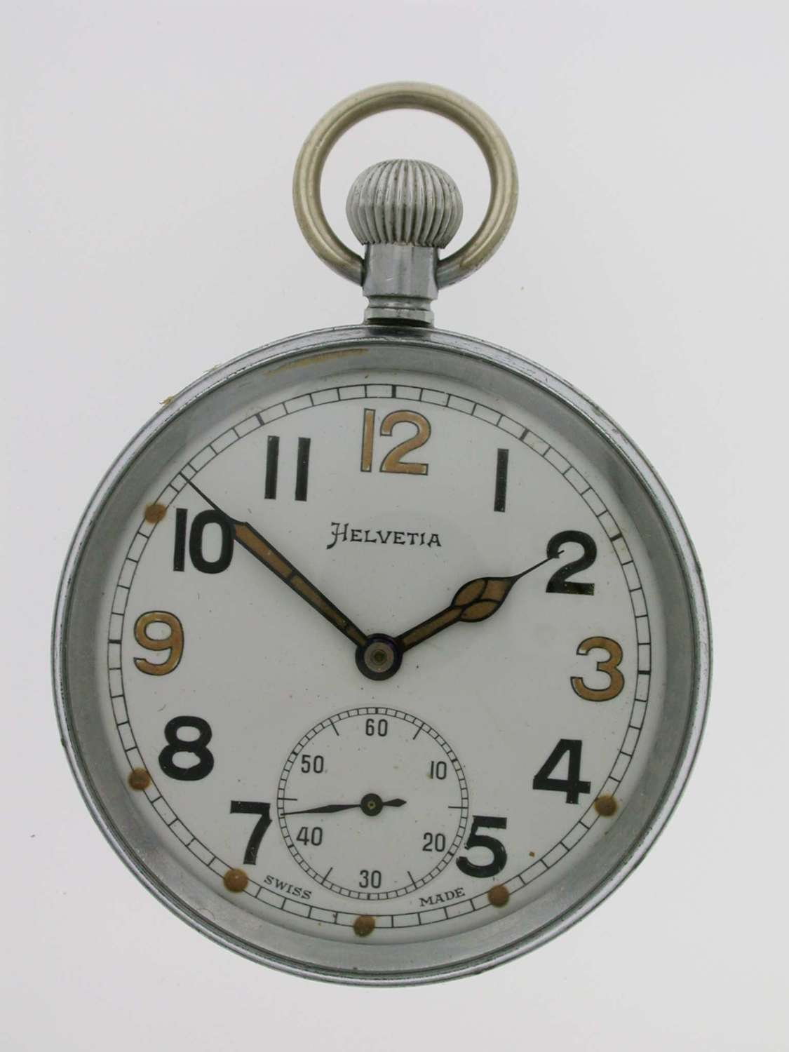 Helvetia WWll British Military Army Open Face Pocket Watch Swiss 1942