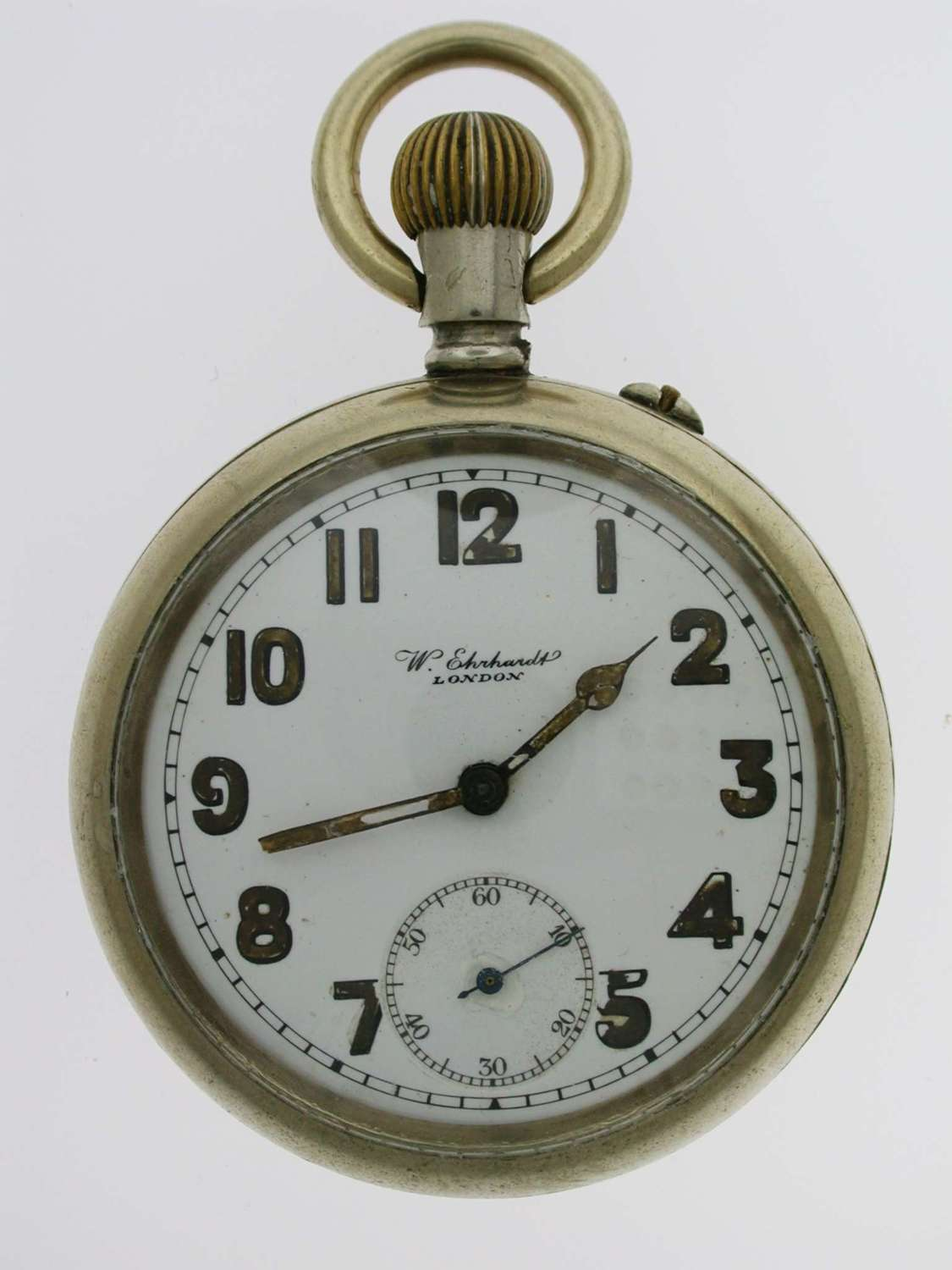 Rare W. Ehrhard Open Face Military Pocket Watch  English 1920