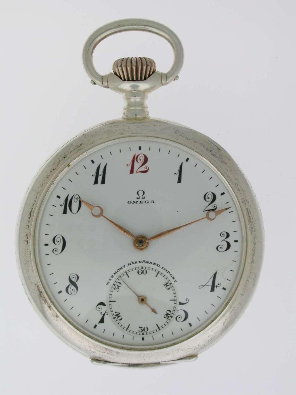 Omega Silver 0.800 Open Face Pocket Watch  Swiss 1910
