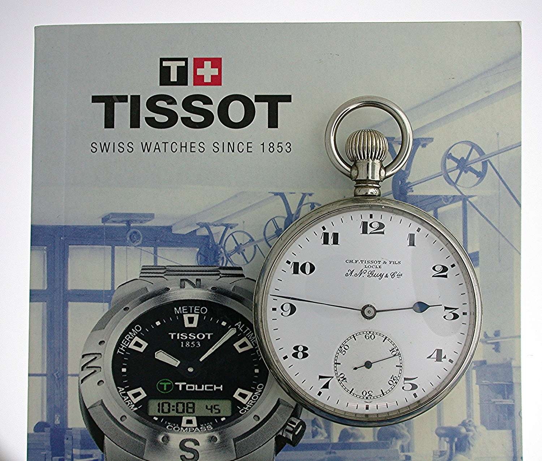 Steel Tissot Open Face Pocket Watch Swiss 1930  With Tissot Book