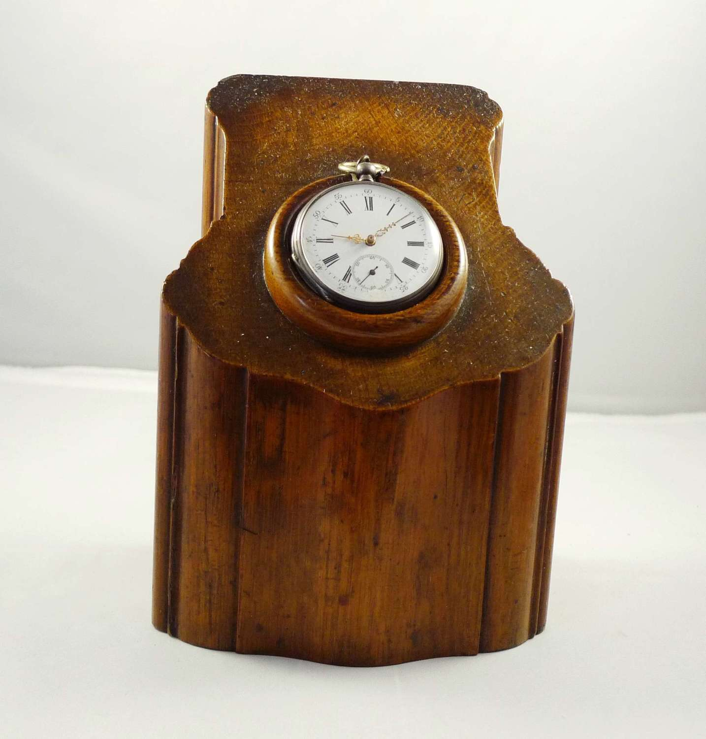 Mahogany Wooden Watch Stand Custom Made for this Silver Pocket Watch