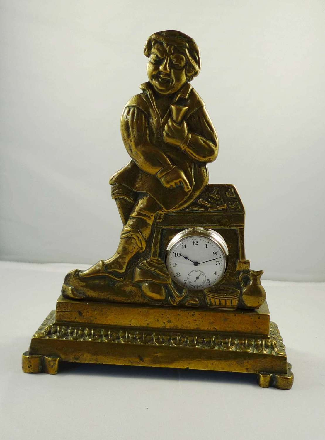Brass Watch Stand with Steel Open Face Pocket Watch