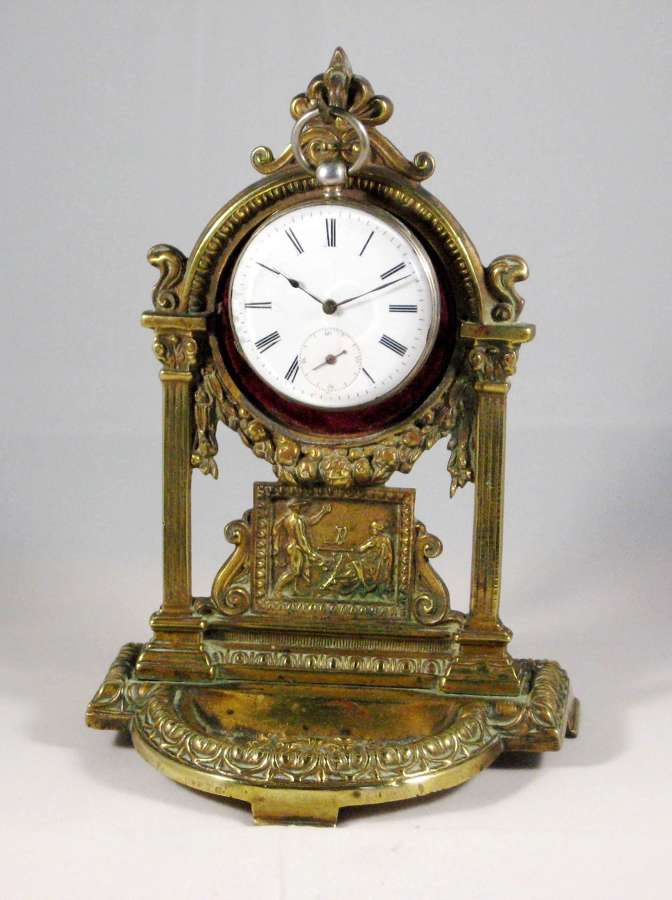 Beautiful Brass Pocket Watch Holder with Silver Pocket Watch Swiss1880