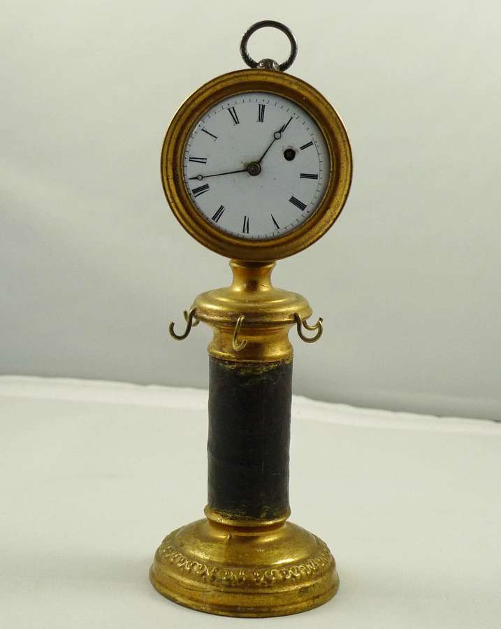 Pillar Column Brass Watch Stand with L' Epine A Paris Pocket Watch