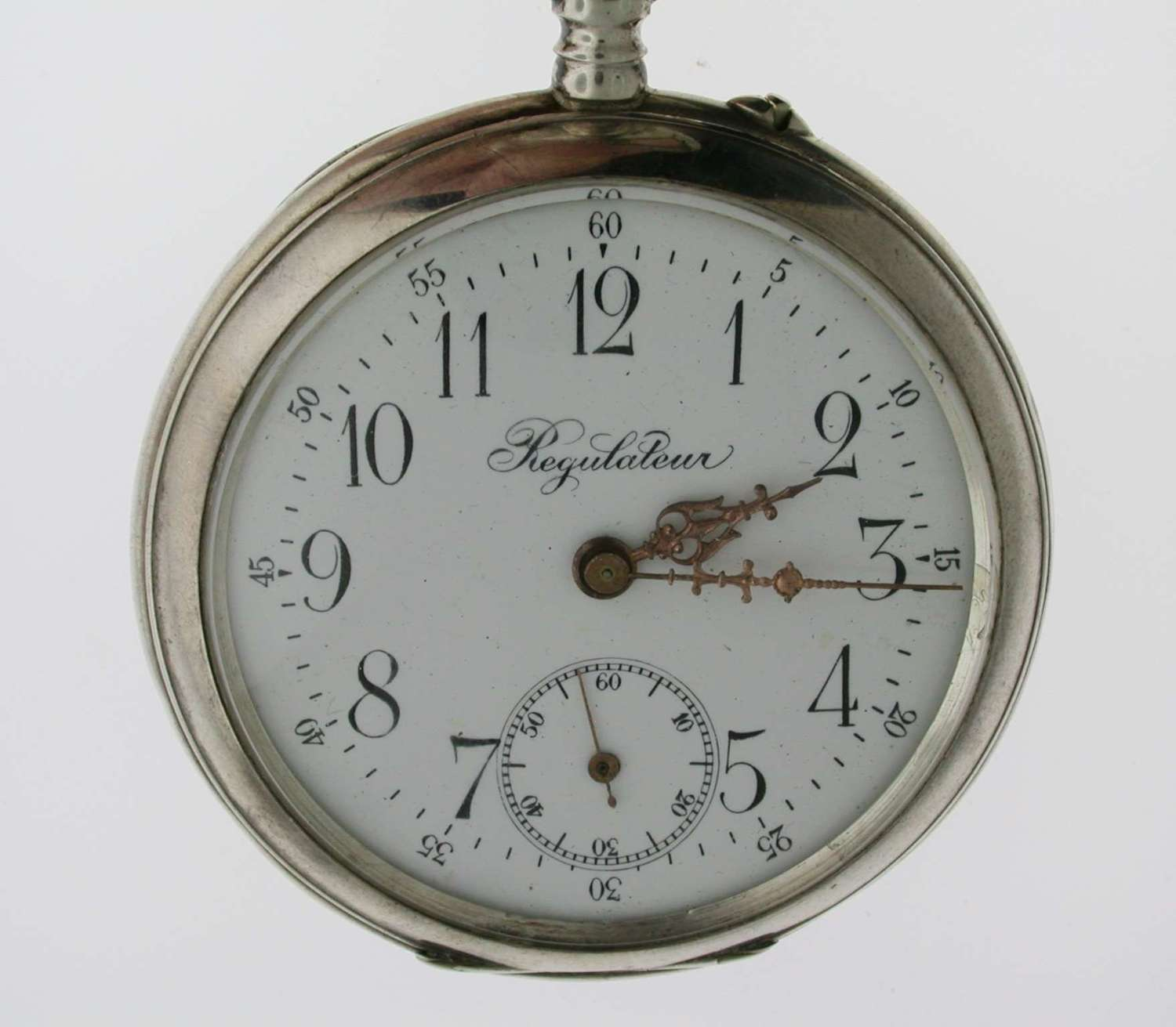 Silver Large Goliath Regulateur Pocket Watch with Swedish Crest