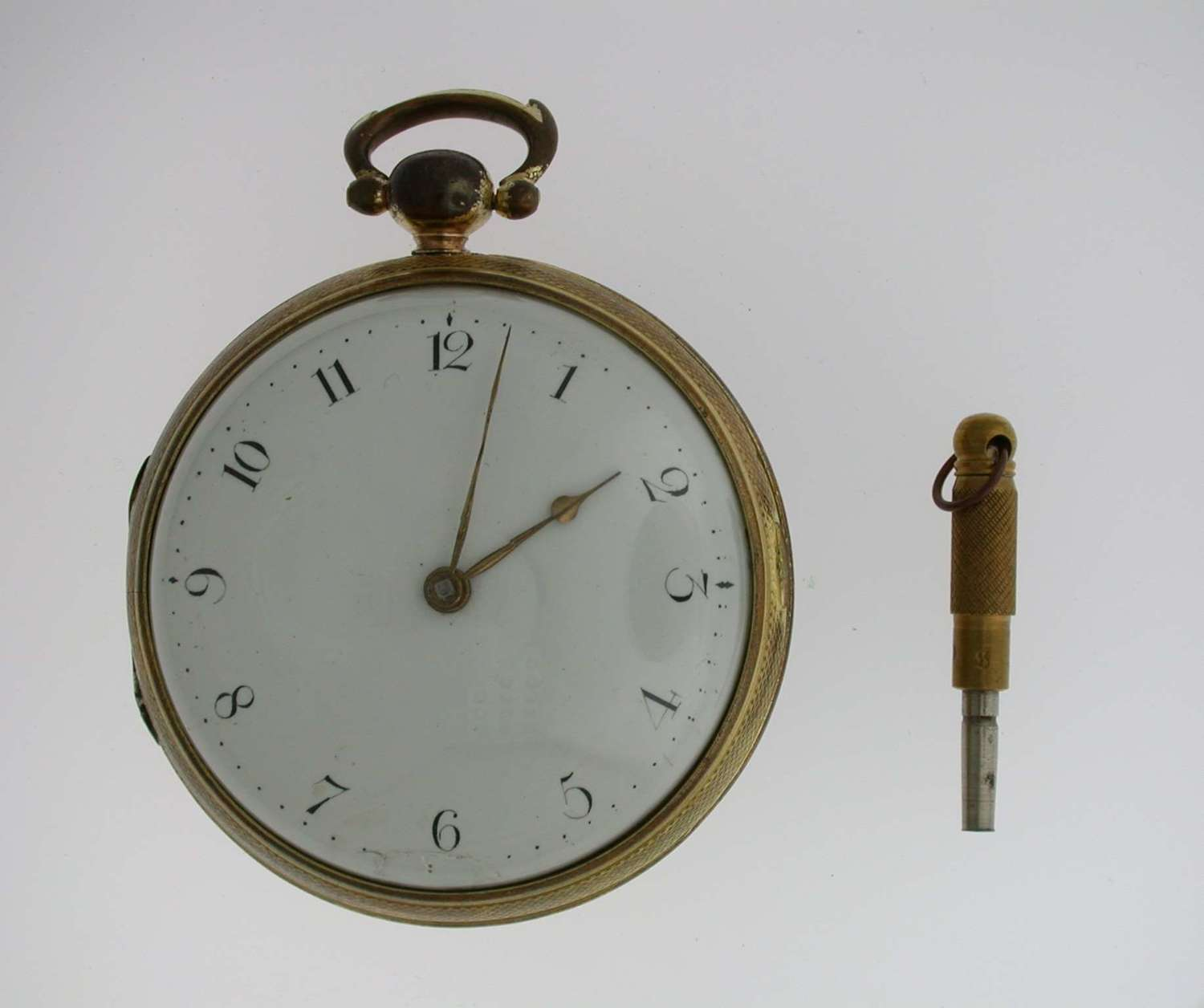 Rare Verge Gold Plated Open Face Pocket Watch  Swiss 1800