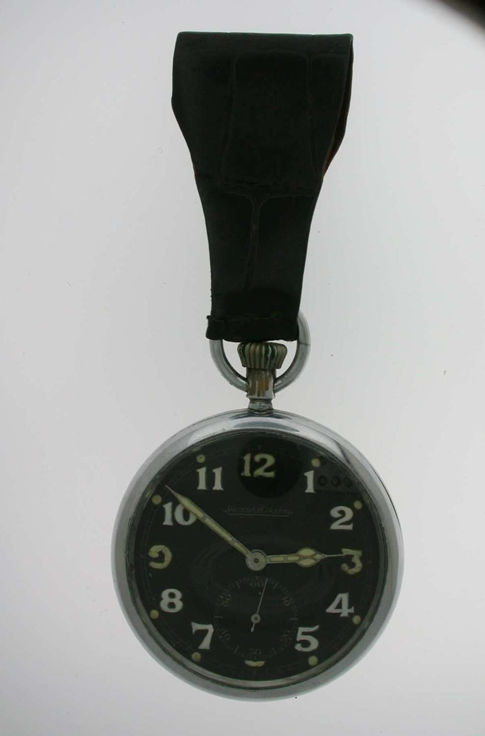 Original JAEGER LECOULTRE Military Steel Pocket Watch Black Dial Swiss