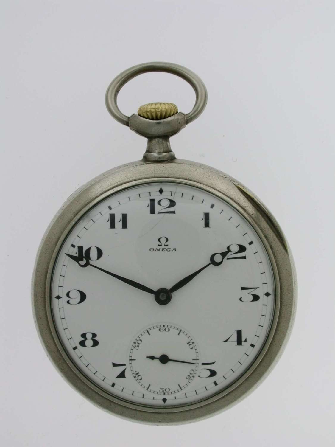 Omega Open Face Steel Pocket Watch Swiss 1920