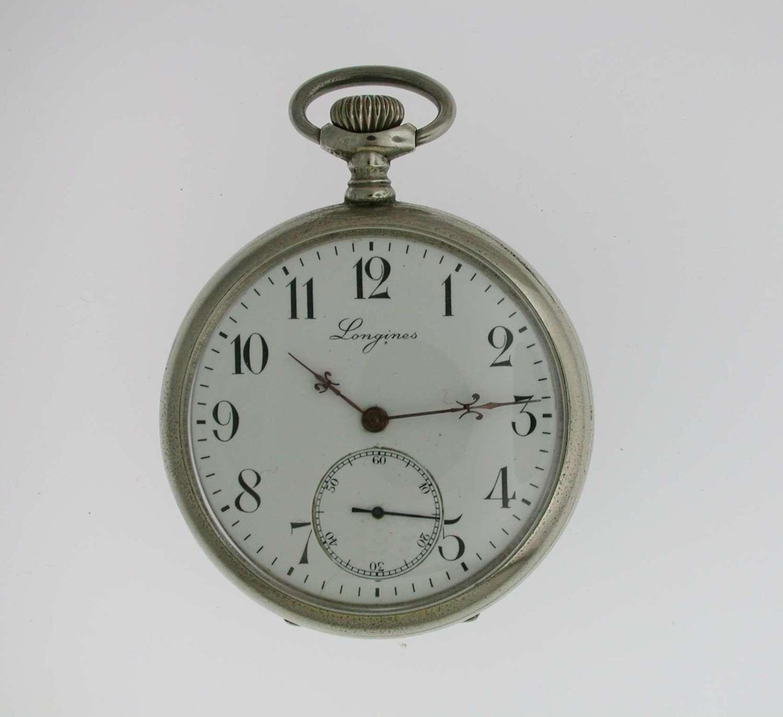 Longines Open Face Swiss Steel Pocket Watch 1935