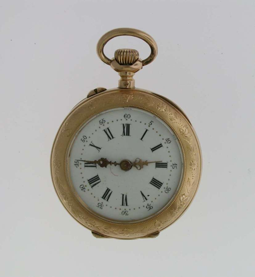 18 Kt Rose Gold FOB Open Face Pocket Watch Swiss 1880