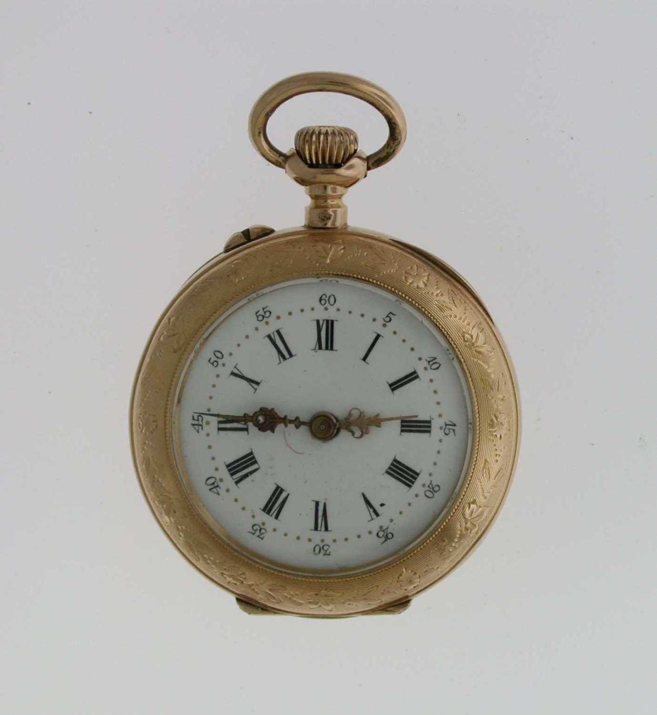 18 Kt Rose Gold FOB Open Face Pocket Watch Swiss 1880