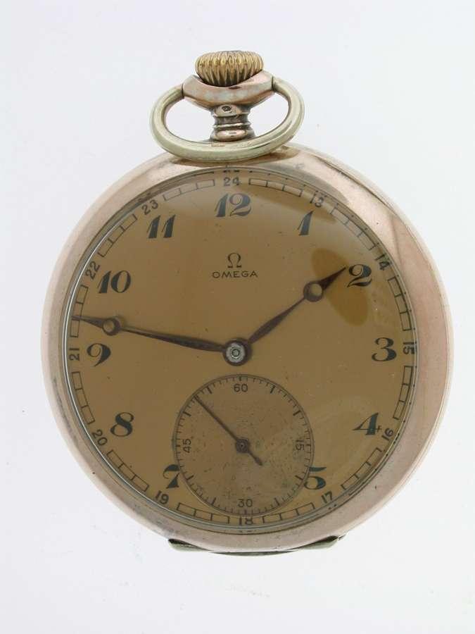 Silver 0.800 OMEGA Open Face Pocket Watch Swiss 1940