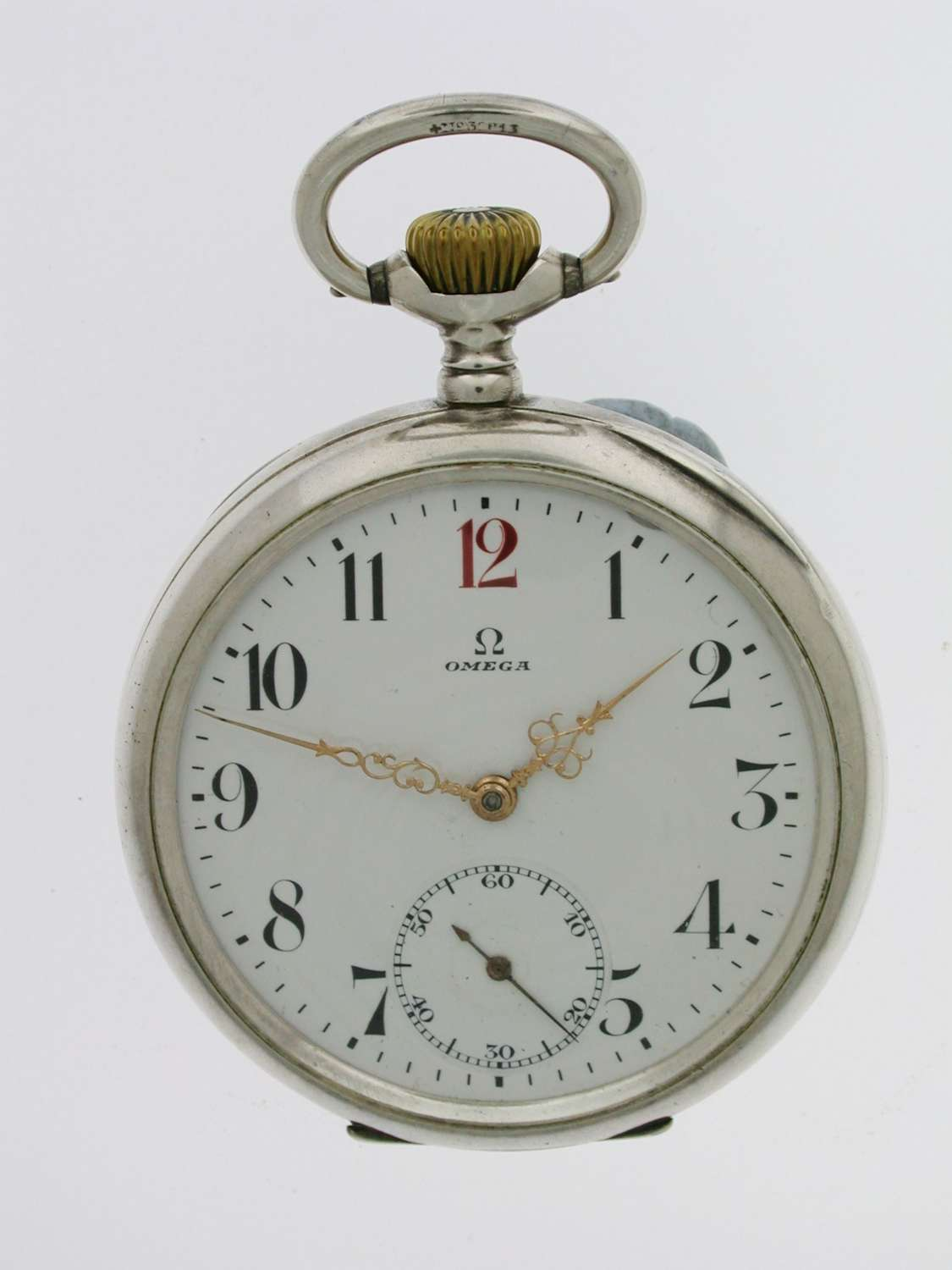 Silver 0.800 OMEGA Open Face Pocket Watch Swiss 1900