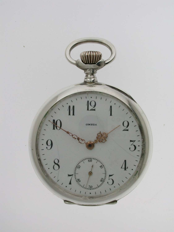 Silver 0.800 OMEGA Open Face Pocket Watch Swiss 1900
