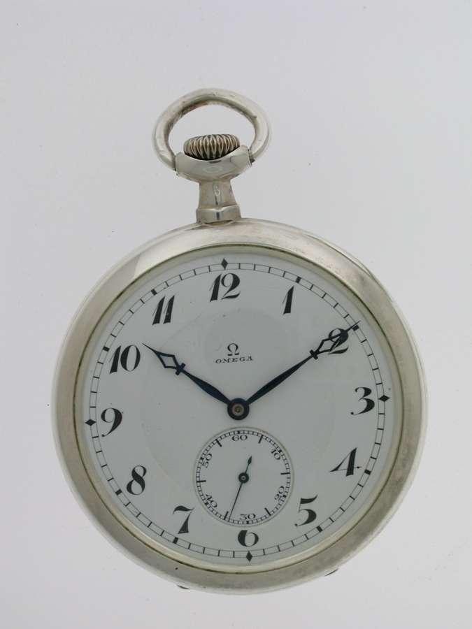 Silver 0.900 OMEGA Open Face Pocket Watch Swiss 1916
