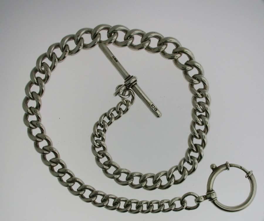 Silver T-bar Pocket Watch Chain (49)