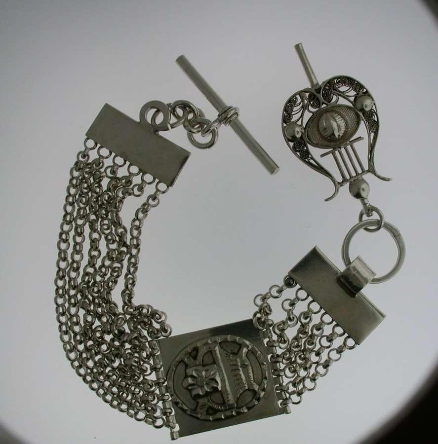 Silver T-bar Pocket Watch Chain (50)