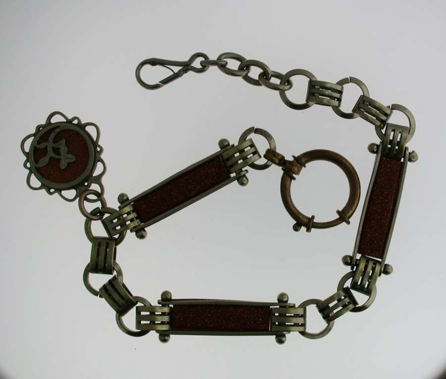 Pocket Watch Chain with Red Stones (52)
