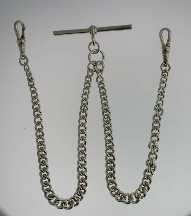 Silver Double Albert T-bar Pocket Watch Chain (53)