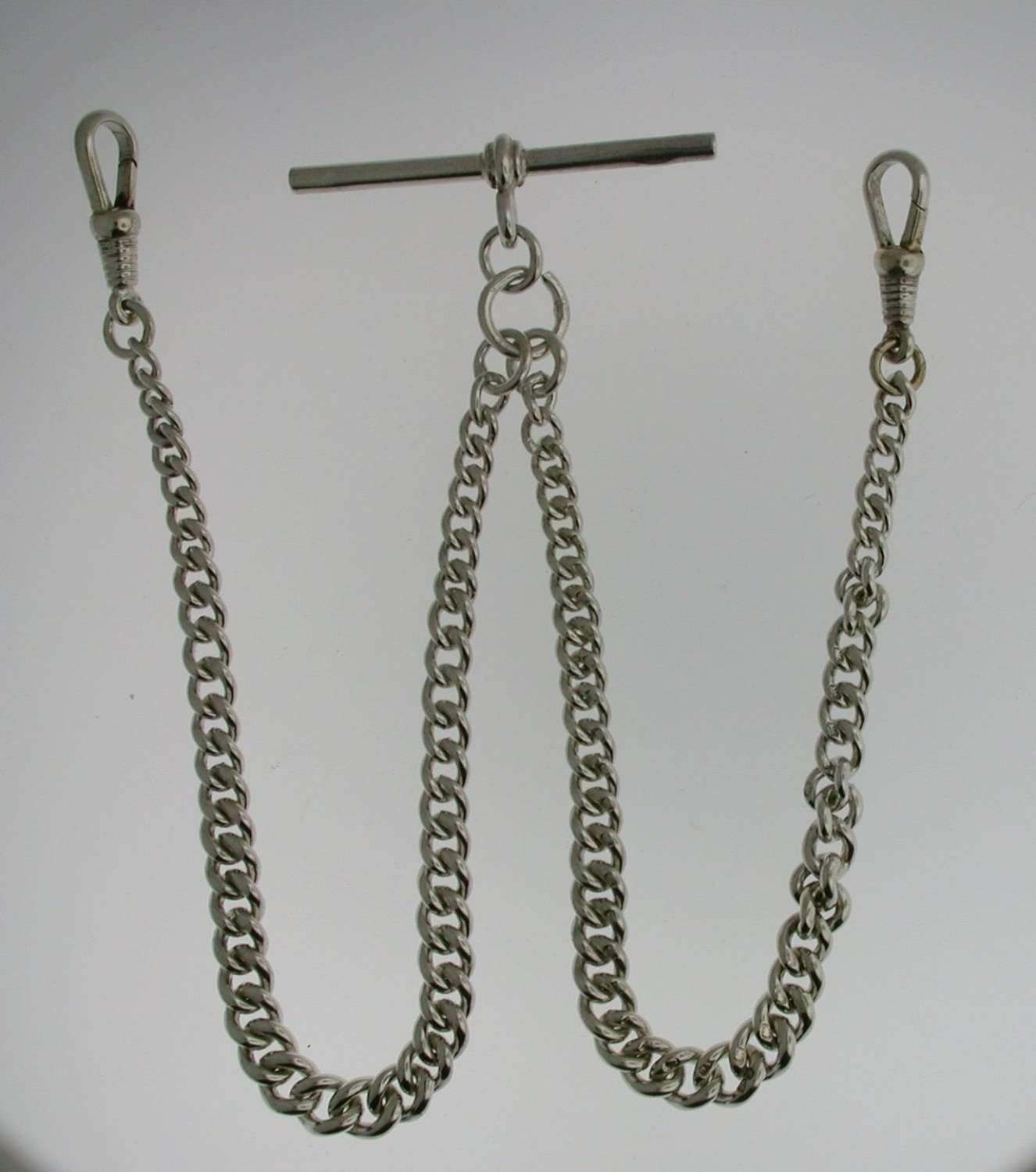Silver Double Albert T-bar Pocket Watch Chain (53)