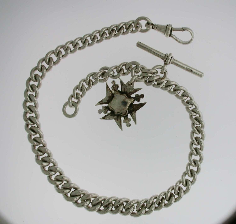 Heavy Silver Pocket Watch T-Albert Chain (56)