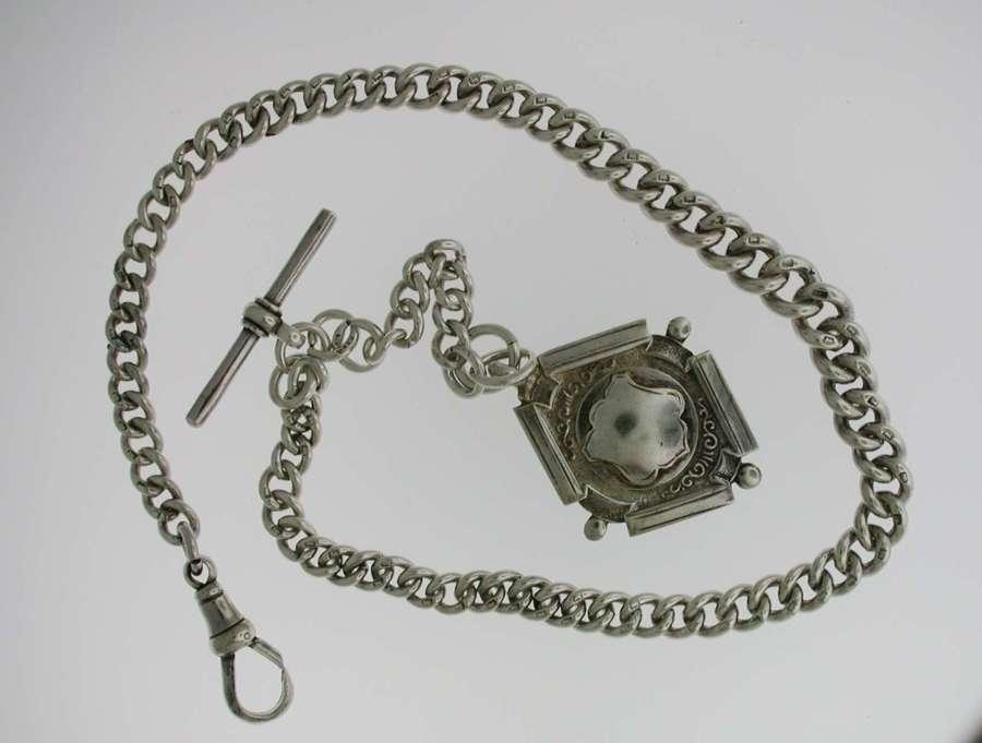 Heavy Silver Pocket Watch T-Albert Chain (57)