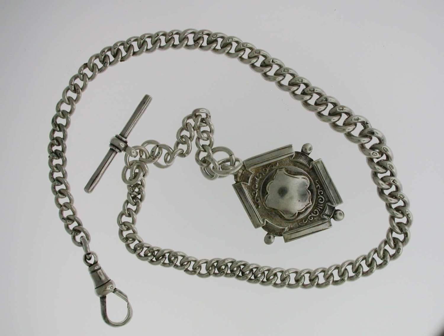 Heavy Silver Pocket Watch T-Albert Chain (57)