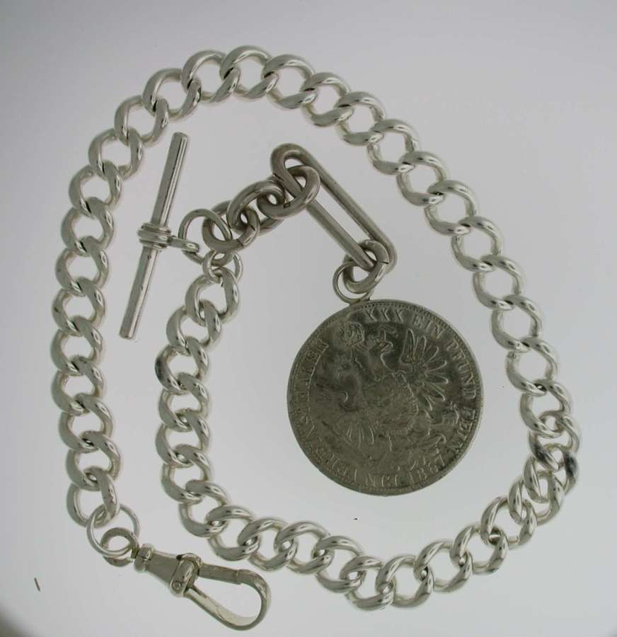 Heavy Silver Pocket Watch T-Albert Chain (60)