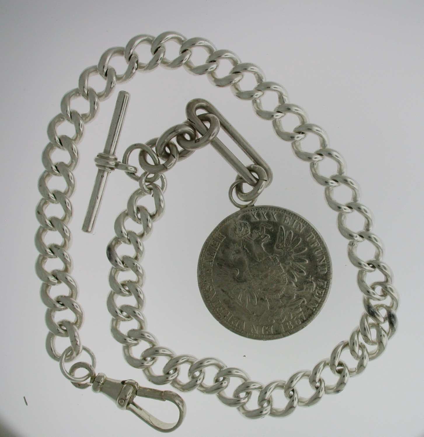 Heavy Silver Pocket Watch T-Albert Chain (60)