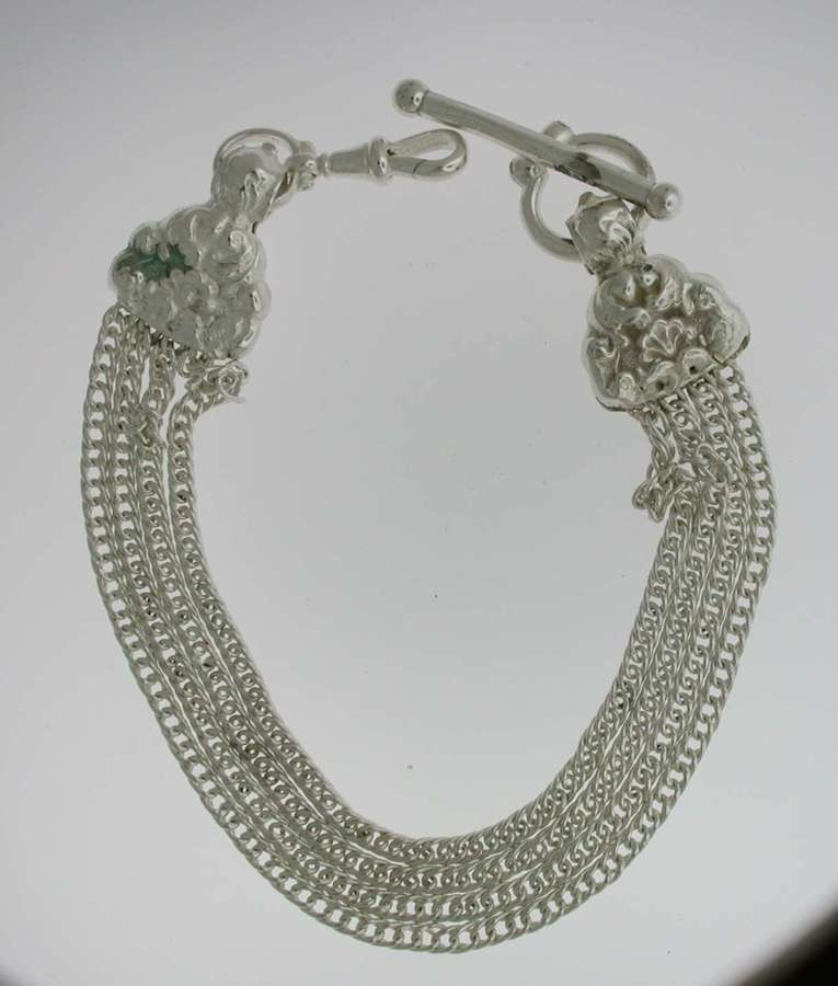 Silver T-bar Pocket Watch Chain (62)