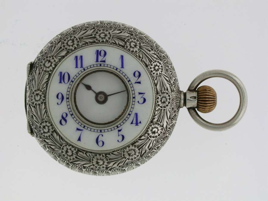 SILVER WALTMAN Swiss HALF HUNTER  POCKET WATCH 1900