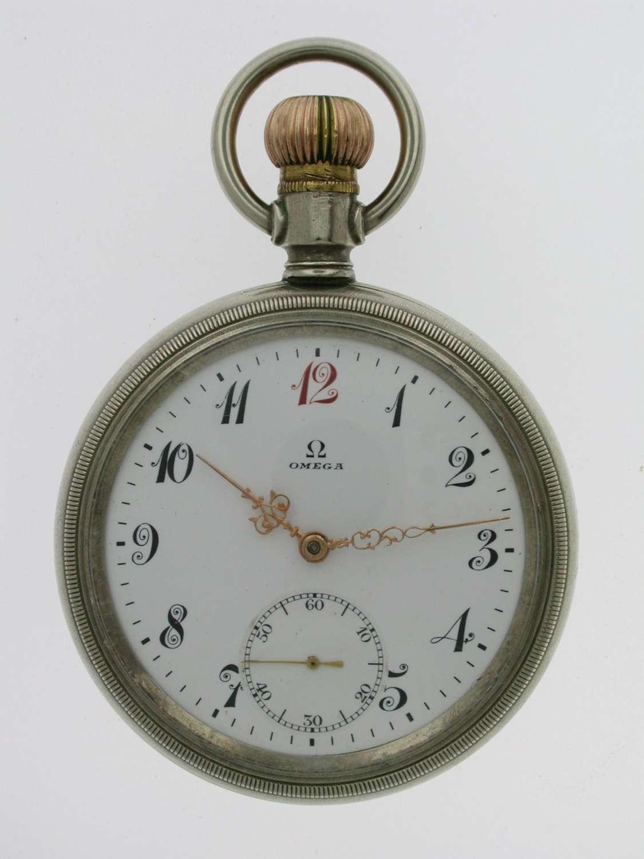 OMEGA Gent's Steel Pocket Watch Swiss 1915