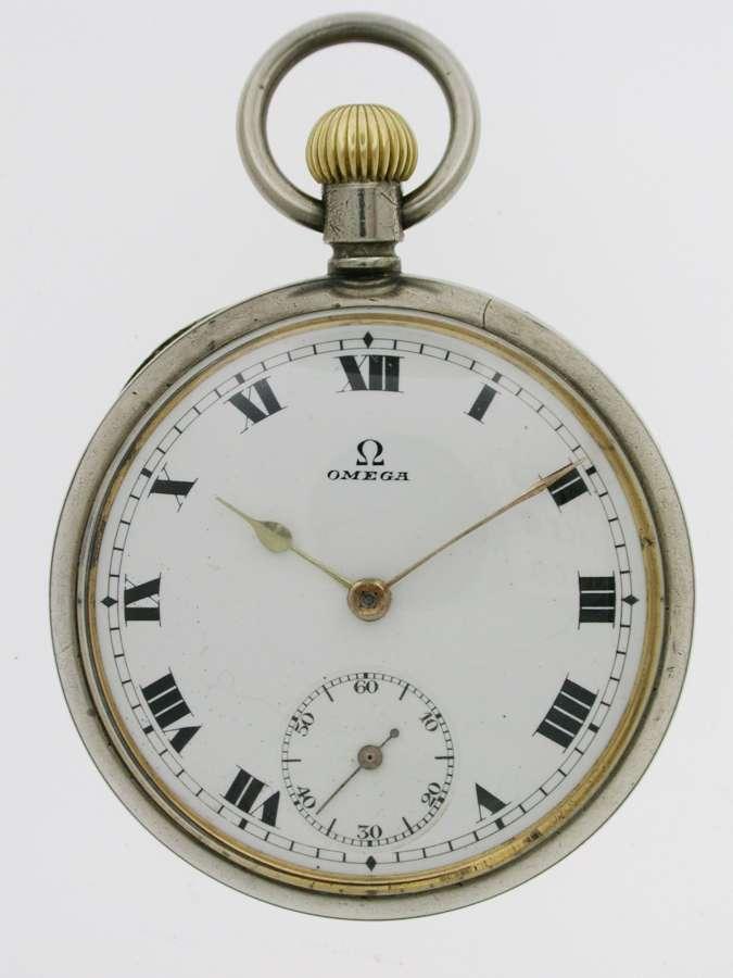 Omega Steel Open Face  Pocket Watch Swiss 1920
