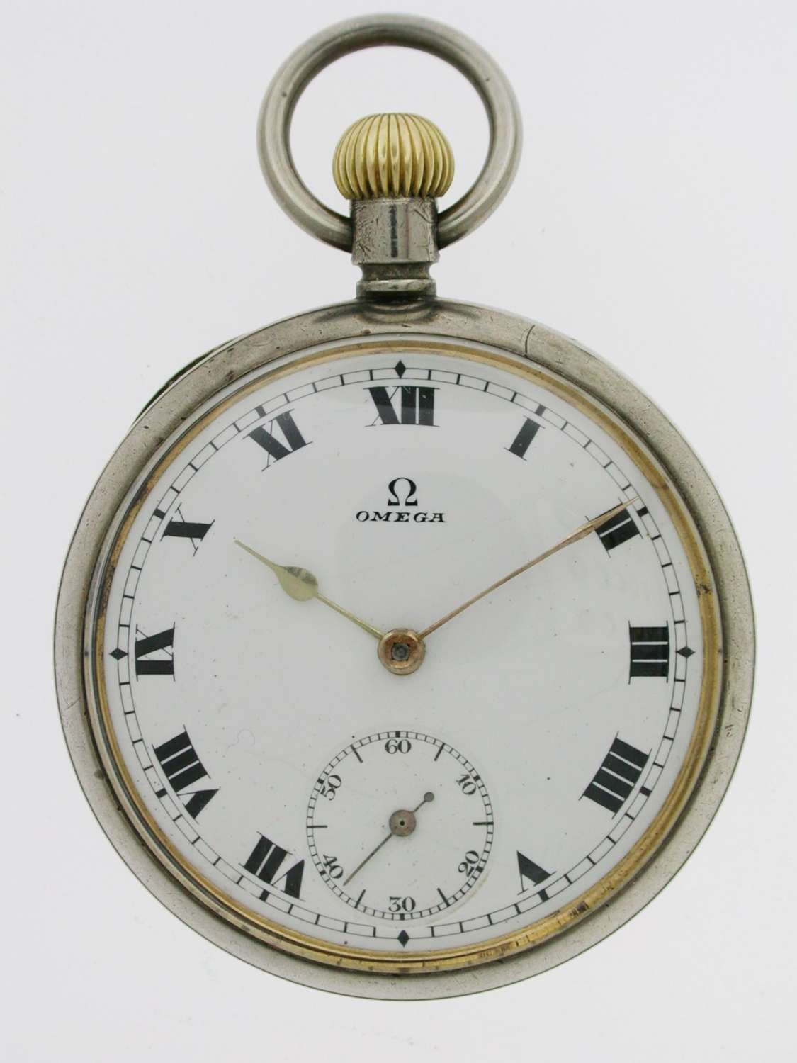 Omega Steel Open Face  Pocket Watch Swiss 1920