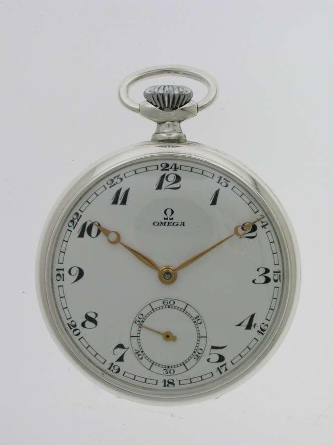 Omega Steel Open Face  Pocket Watch Swiss 1937