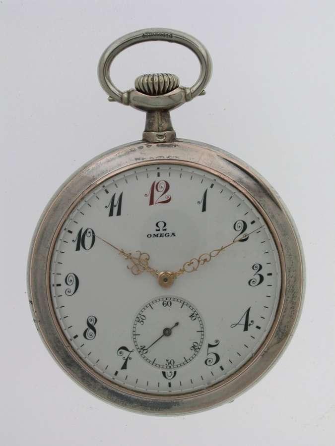 Omega Silver 0.800 Open Face Gent's  Pocket Watch Swiss 1900