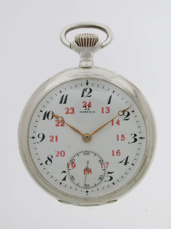 Omega Silver 0.800 Open Face Gent's  Pocket Watch Swiss 1916