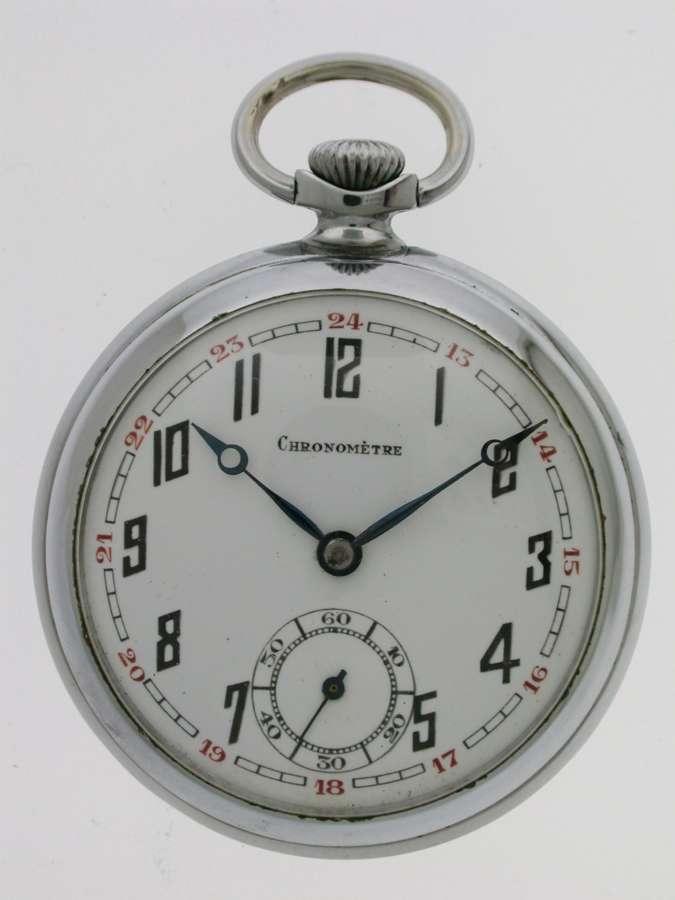 Art Deco Open Face Pocket Watch Swiss 1920