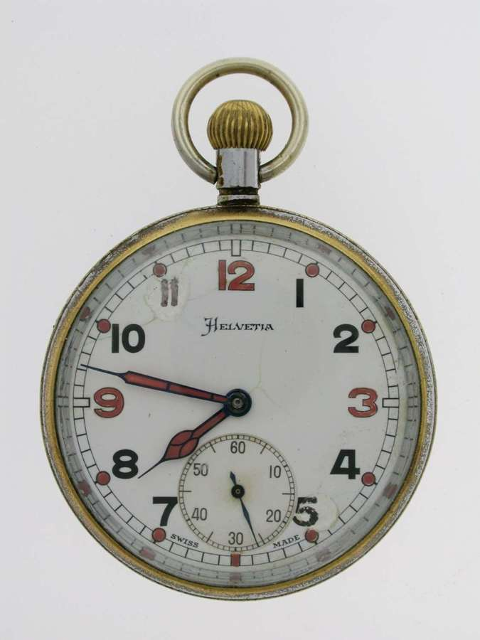 Helvetia WWll Military Army Open Face Pocket Watch Swiss 1942
