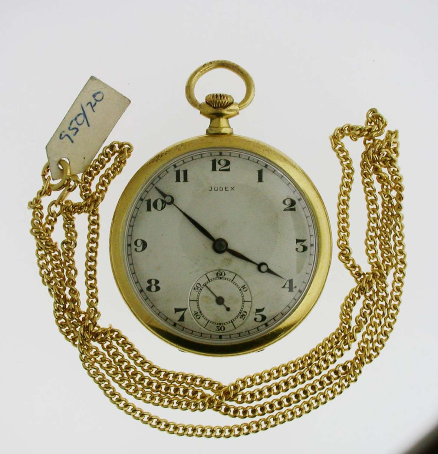 Judex Art Deco Gold Filled Open Face Pocket Watch with Chain Swiss1925