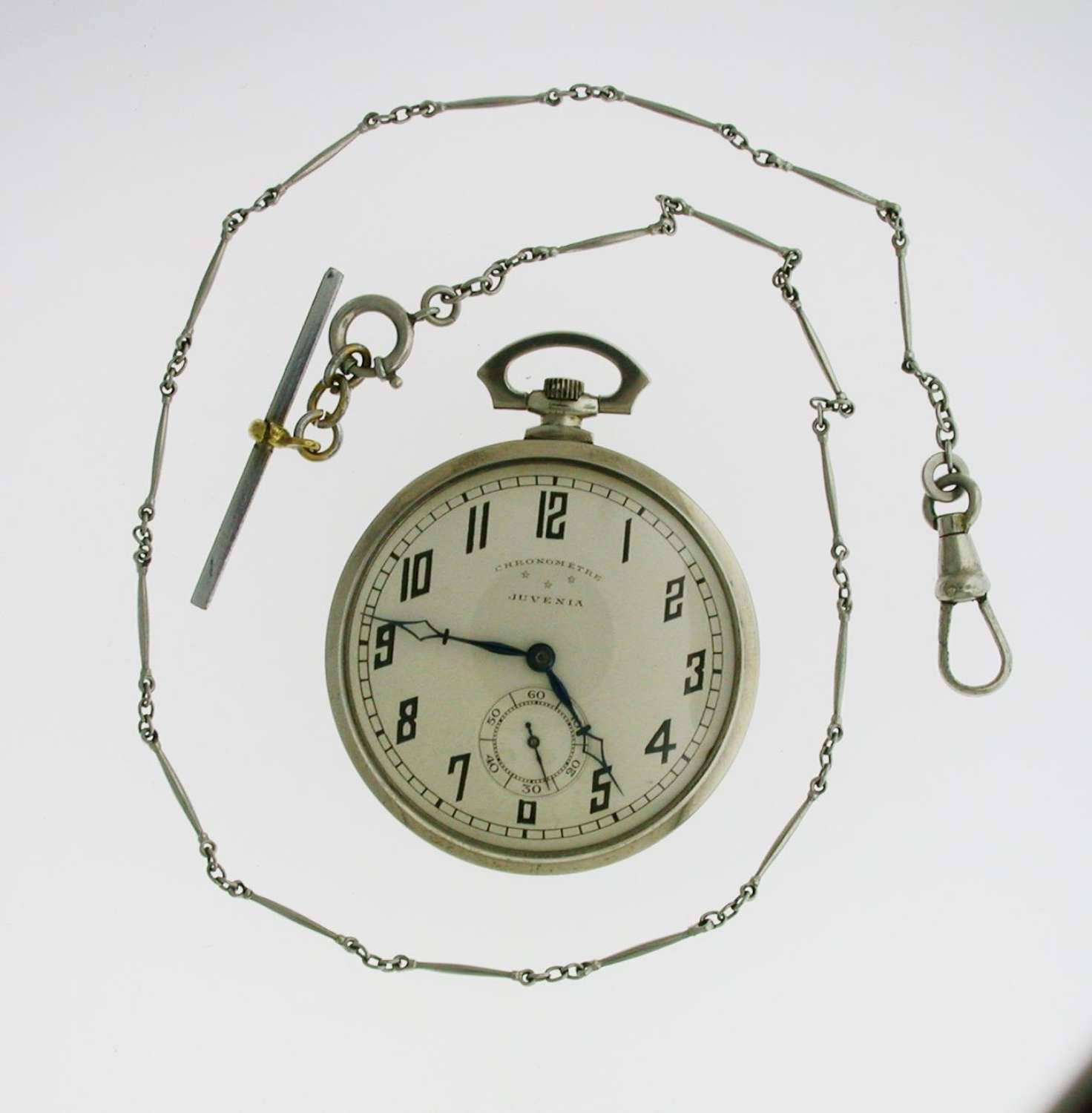 Juvenia Art Deco Nickel Plated Open Face Pocket Watch with Chain Swiss