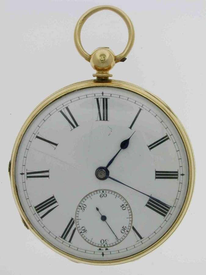 18 Kt Yellow Gold Open Face Pocket Watch  Hallmarked London 1857