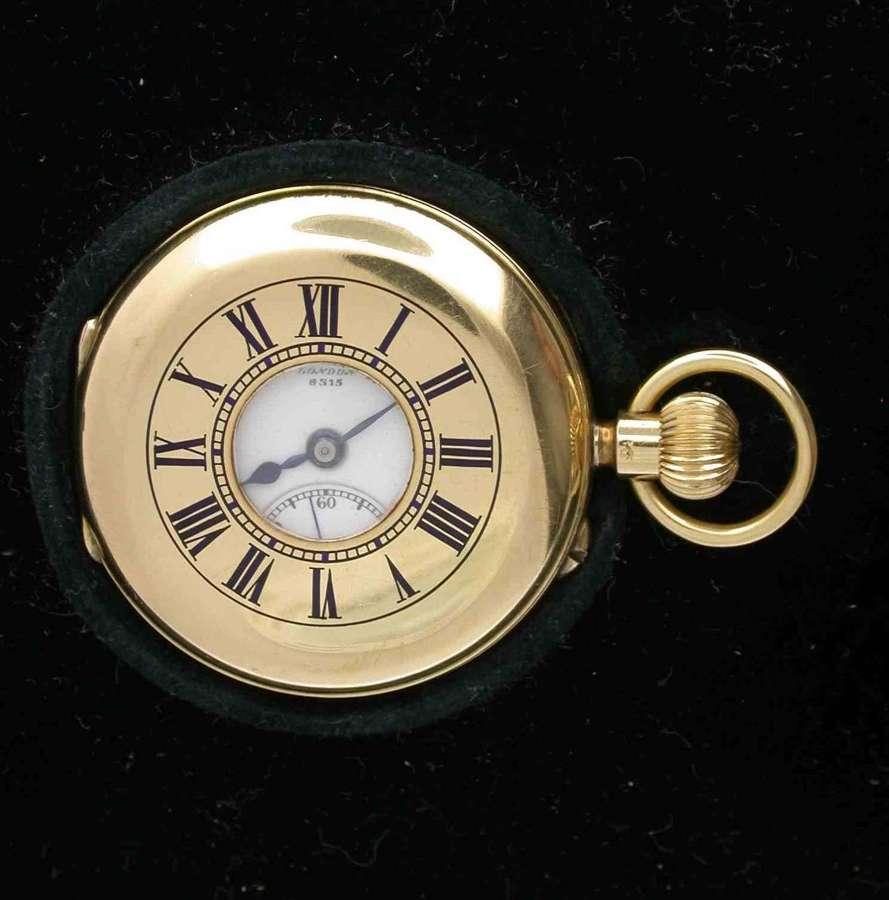 18 Kt Yellow Gold Clerke Half Hunter Pocket Watch  London 1909