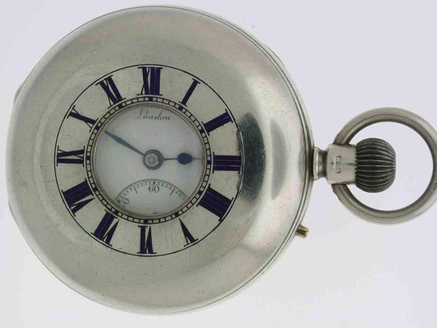 Silver J.W. BENSON Ludgate Hill London 1899 Half Hunter Pocket Watch
